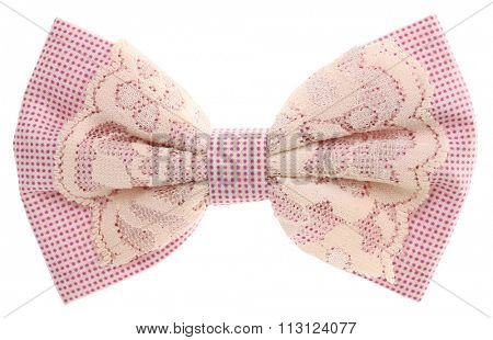 Hair bow tie lilac with lace vintage