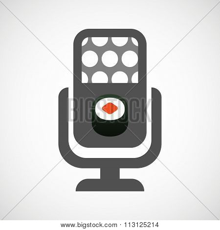Isolated Microphone Icon With A Piece Of Sushi Maki