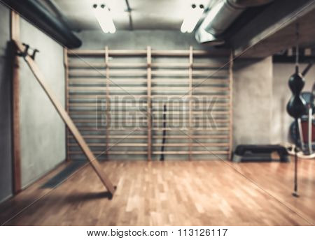 Empty boxing area in the gym
