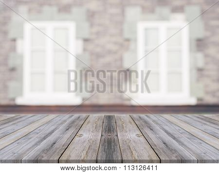 Wooden Board Empty Table In Front Of Blurred Background. Perspective Grey Wood Over Blur Ceramic Til