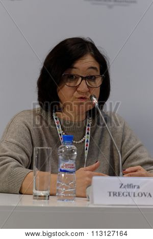 ST. PETERSBURG, RUSSIA - DECEMBER 15, 2015: General Director of the Russian Museum Association Zelfira Tregulova at the discussion