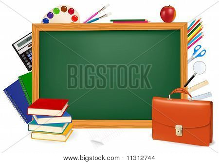 Back to school. Green desk with school supplies. Vector.