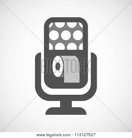 Isolated Microphone Icon With A Toilet Paper Roll