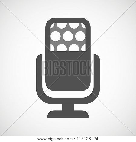 Isolated Microphone Icon With A Emotionless Text Face