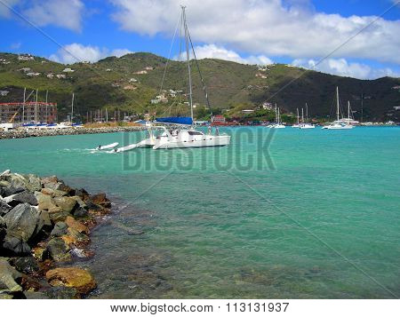 Luxury yachts in St Barts harbor in the West Indies