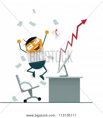 Businessman happy and Successful Invest in Stock Market