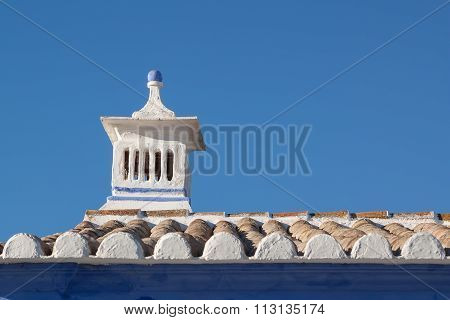 Traditional Portuguese Chimney. On The Roof Of The House.