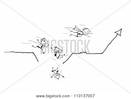 Vector draw doodle cartoon. Businessman running on business line graph and falling down