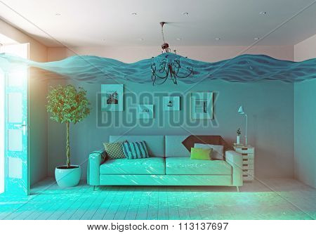 an underwater view in the flooding interior. 3d concept