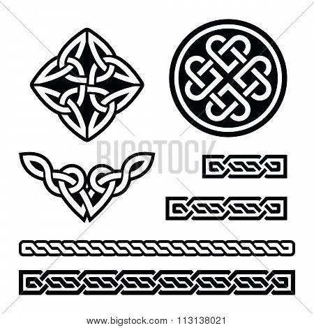 Set of traditional Celtic symbols, knots, braids in black and white poster