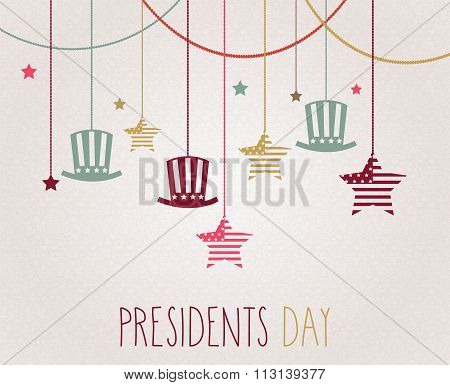 Presidents day poster. Hanging colorful hats and stars