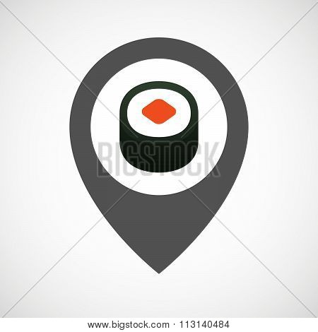 Isolated Map Marker With A Piece Of Sushi Maki