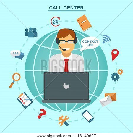 Concept Of Technical Online Support Call Center. Computer Remote Nonstop Support Service