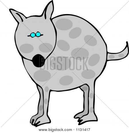 this illustration depicts a gray dog with spots. poster
