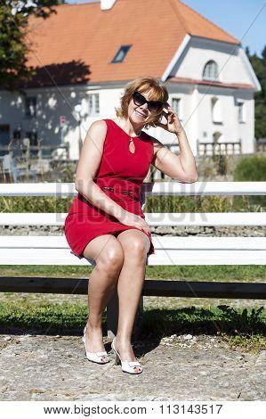 Female enjoys the sunny weather in mason