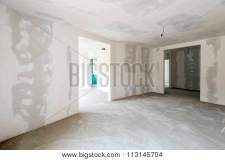 Unfinished Building Interior, White Room
