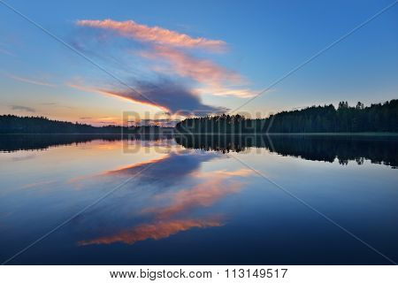 Sunset lanscape of Saimaa lake in Finland poster