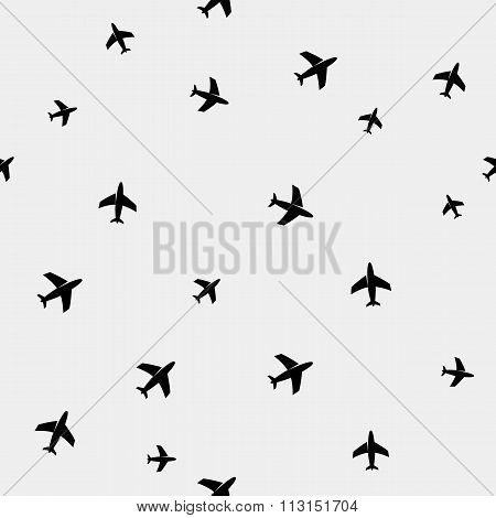Geometric simple monochrome minimalistic vector holiday pattern planes