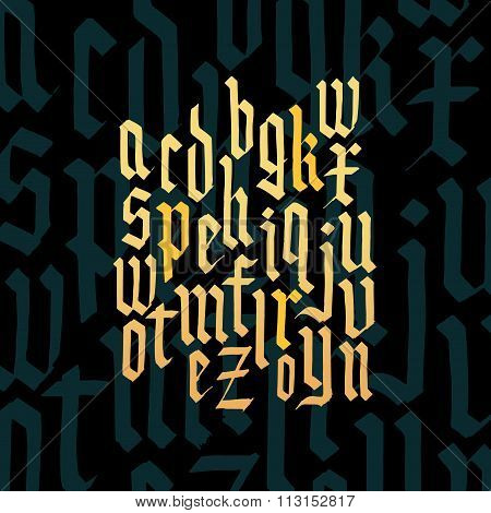 Composition of lowercase letters blackletter gothic font.
