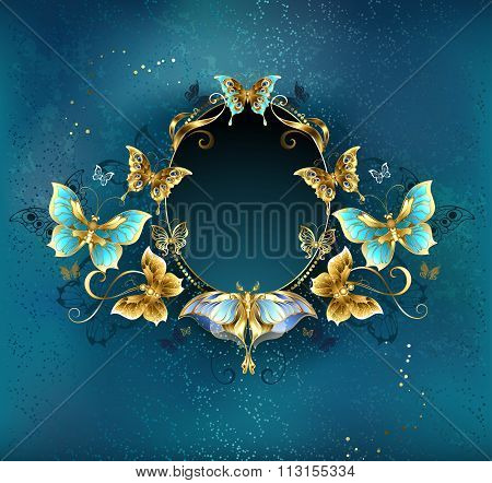 Oval Banner With Luxurious Butterflies