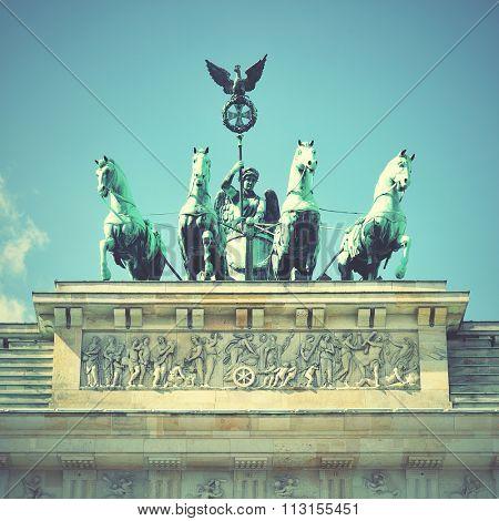 The Quadriga on the Brandenburg gate,  Berlin, Germany. Instagram style filtred image