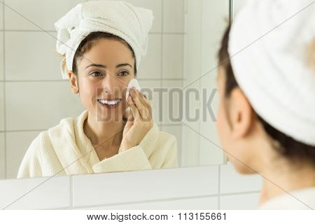 Woman Cleaning Her Make Up