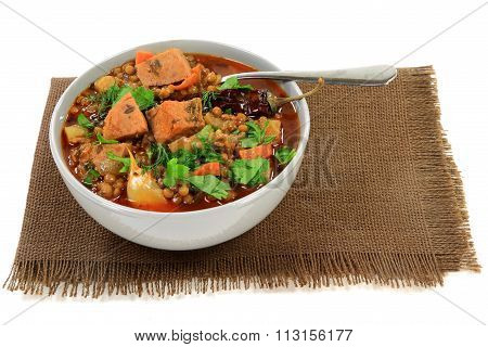 Brown Lentil Soup With Sausage
