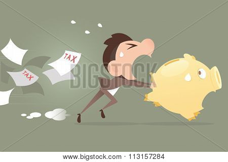 Businessman Running Away From Tax