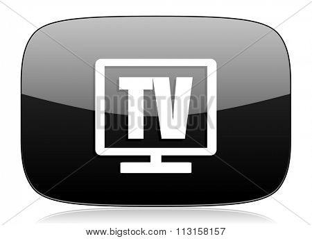 tv black glossy web modern icon