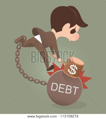Businessman Holding Hammer Hitting Cracked Debt Ball