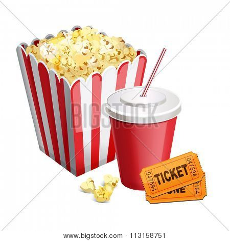 popcorn with soda and tickets isolated on white 10 eps