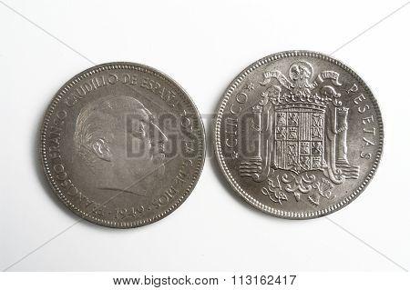 Spanish Currency, Francisco Franco, Cinco Pesetas 1949