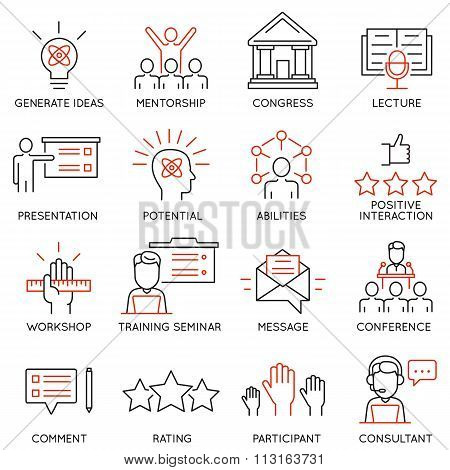 Set icons related to career progress corporate management business people training