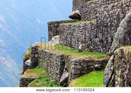 Machu Picchu, the old walls in the background mountains