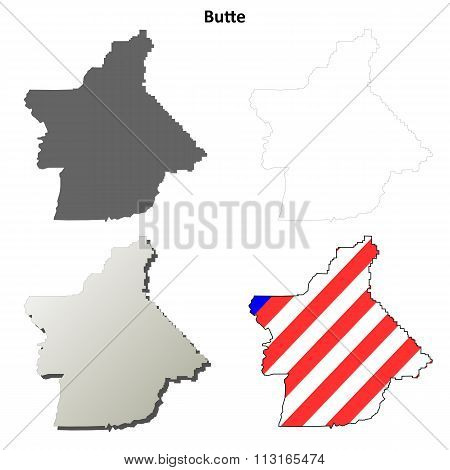 Butte County, California outline map set