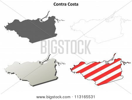 Contra Costa County, California outline map set