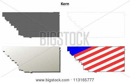 Kern County, California outline map set