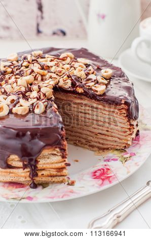 Chocolate and Hazelnut Crepe Cake Maslenitsa copy space for your text poster