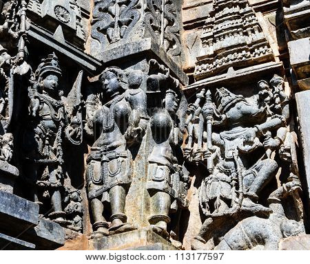 Artistic statues of beautiful deities at Chennakesava temple, Belur captured on December 30th, 2015