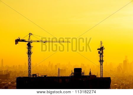 construction site at sky in twilight time background.