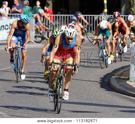 Group Of Cycling Triathlon Competitors Fighting