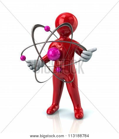 Protection Concept. Red Man With Atom Molecules