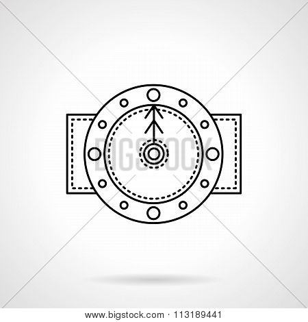 Time black flat line vector icon