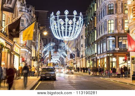 New Bond Street In London At Christmas