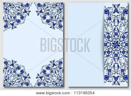 Set Of Template With Chinese Or Russian Motif Painting On Porcelain For Design Paty Invitations And