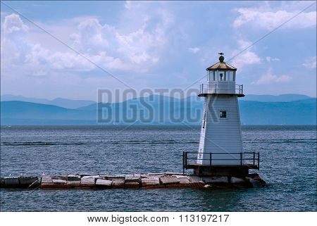 Burlington Breakwater Lighthouse In Vermont