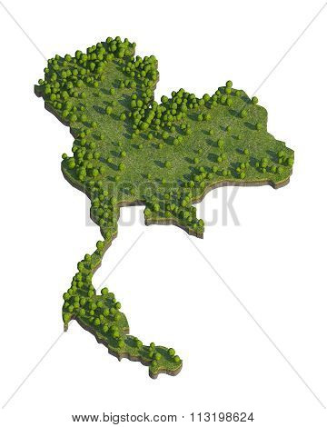 Thailand 3D Map Section Cut Isolated On White With Clipping Path