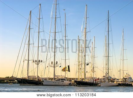 Tall Sailing Vessels In Newport As Sun Sets