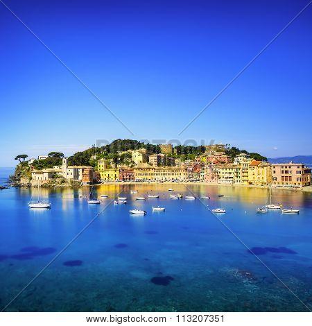 Sestri Levante, Silence Bay Sea Harbor And Beach View. Liguria, Italy