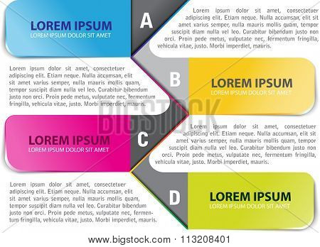Vector colored infographic  background with ABCD steps for brochure or flyer